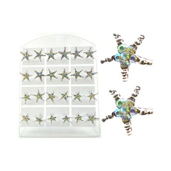 Arete en exhibidor, estrella con cristales en exhibidor, plateado, 1 cm aprox.