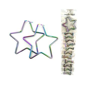 Arete arracada estrella bicolor tornasol, 6 cm.