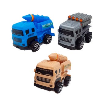 Carro camíon de guerra, 2 modelos y colores surtidos, 8.5 X 4.5 X 4 cm.