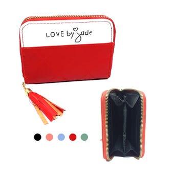 Monedero cartera para dama, LOVE BY JADE, colores surtidos, 13 X 9 cm.