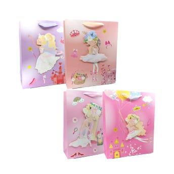 Bolsa para regalo bailarinas 3D con glitter, modelos surtidos, 32 X 26 X 10 cm.