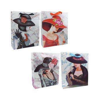 Bolsa para regalo para dama con glitter, mod surtidos, 32 X 26 X 10 cm.