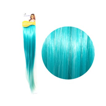Extensión para cabello, lacio, verde con verde agua, 23 x 56 cm.