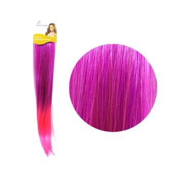 Extensión para cabello, lacio, morado con rosa, 23 x 56 cm.