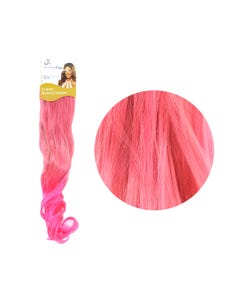 Extensión para cabello, ondulado, rubio con rosa, 23 x 56 cm.