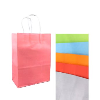 Bolsa para regalo lisa de colores surtidos, 25.5 X 18.5 X 9.5 cm.