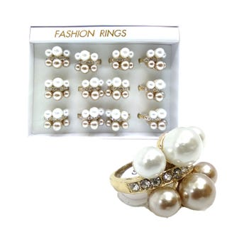 Anillo de cristales con perlas, tallas surtidas.