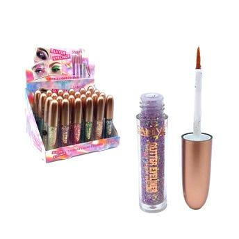 Delineador líquido de glitter con punta pincel, SANIYE,  colores surtidos, 3.2 ml.