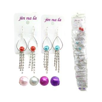 Arete largo gota con perla y cristales, colores surtidos, 6 cm aprox