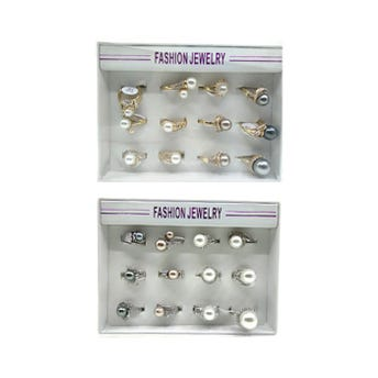 Anillo metálico con cristales y perla, mod y tallas surt.
