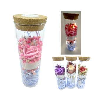 Adorno de cristal con flor y luz, colores sujetos a disp, 21 X 6.5 cm.