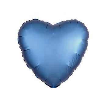 Globo corazón azul plata semi mate, 43 X 43 cm.