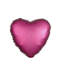 Globo corazón vino semi mate, 43 X 43 cm.