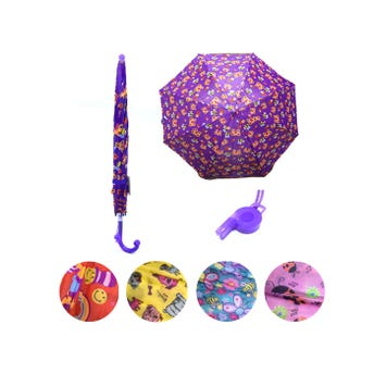 Sombrilla paraguas infantil con silbato, modelos sujetos a disp, 59 X 77 cm.