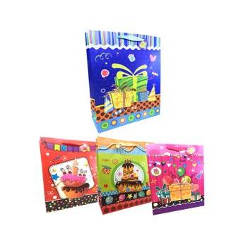 Bolsa para regalo 3D con glitter FELIZ CUMPLEAÑOS # 2, modelos surtidos, 40 x 30 x 12 cm