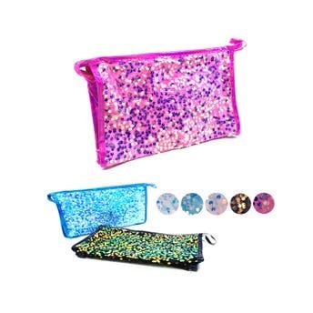 Cosmetiquera textil con lentejuelas, colores surtidos sujetos a disp, 16 X 25 X 7 cm.
