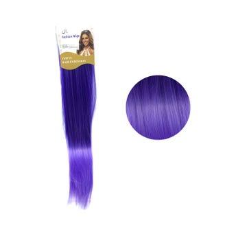 Extensión para cabello, lacio, morado con lila, 23 x 56 cm.