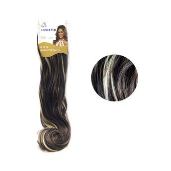 Extensión para cabello, lacio, castaño oscuro con rayos, 23 x 56 cm.