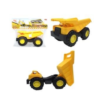 Carro camión de construcción, amarillo, 10 X 18 X 9 cm.