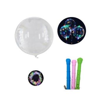Globo burbuja transparente con luz y base, usa 3 pilas AA no incluidas, color suj a disp, 20 cm