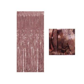 Cortina de papel metálico azucarado, cobre, 1 x 2 mts aprox