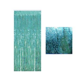 Cortina de papel metálico azucarado, azul, 1 x 2 mts aprox