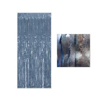 Cortina de papel metálico azucarado, azul claro, 1 x 2 mts aprox