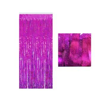 Cortina de papel metálico azucarado, fiusha, 1 x 2 mts aprox