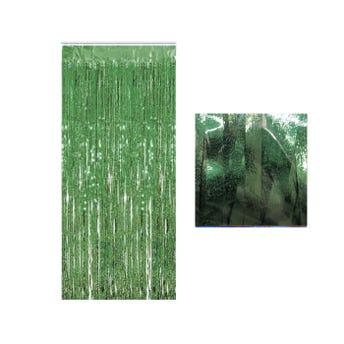 Cortina de papel metálico azucarado, verde claro, 1 x 2 mts aprox