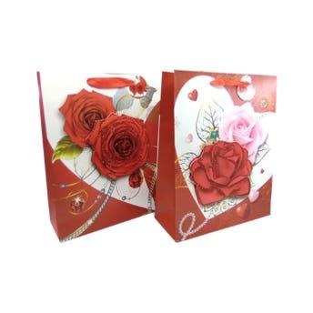 Bolsa para regalo con flores 3D, 10 DE MAYO, modelos surt sujetos a disp, 32 X 16 X 10 cm.