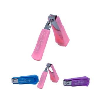 Corta uñas metálico con protector de plástico, colores surtidos, 7 cm.