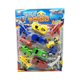 Carro, moto y avión en blister, modelos surtidos, 9 cm aprox