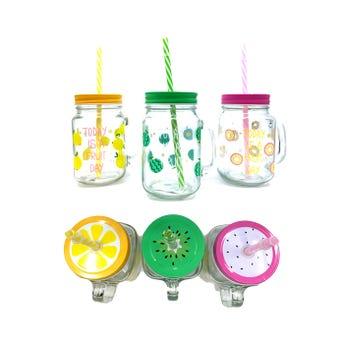 Taza de cristal decorada con tapa y popote, colores y modelos surtidos, 13 X 7.5 cm.