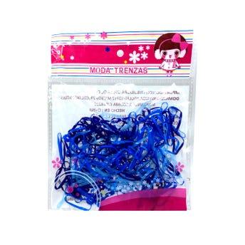 Liga para cabello de látex TPU ancha, azul, 180 pz.