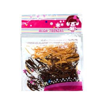 Liga para cabello de látex TPU ancha, café, 180 pz.