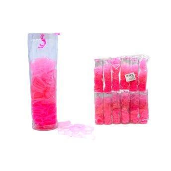 Liga para cabello de látex TPU, tubo con 280 pz, rosa.