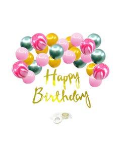 Letrero HAPPY BIRTHDAY con 25 globos de colores, 90 cm aprox.