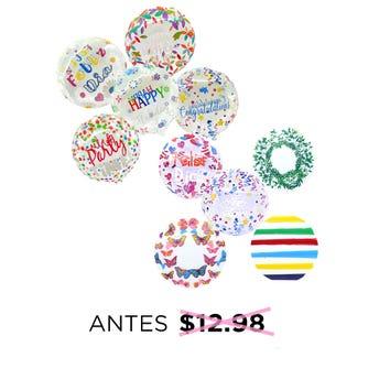 Globo burbuja decorado, FELICIDADES, inner poor modelo sujeto a disp, 19 cm.