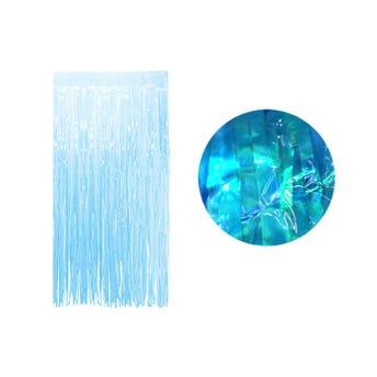 Cortina de papel transparente tornasol, azul, 2 X 1 mt aprox.