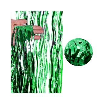 Cortina de papel metálico ondulado, verde bandera, 2 X 1 mt aprox.