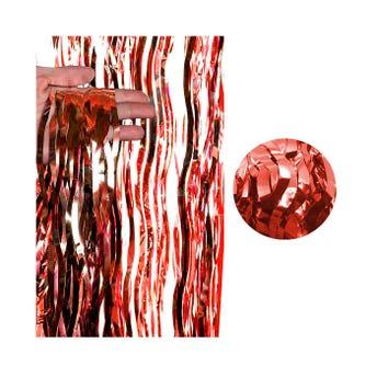 Cortina de papel metálico ondulado, rojo, 2 X 1 mt aprox.