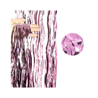 Cortina de papel metálico ondulado, rosa, 2 X 1 mt aprox.