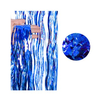 Cortina de papel metálico ondulado, azul rey, 2 X 1 mt aprox.