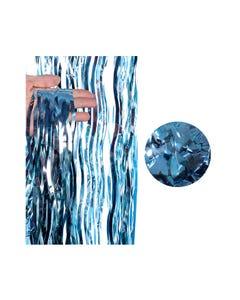 Cortina de papel metálico ondulado, azul, 2 X 1 mt aprox.