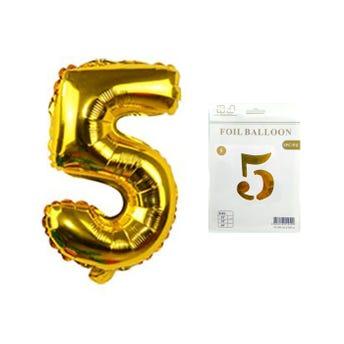 Globo de número, # 5, dorado, 43 X 25 cm aprox.