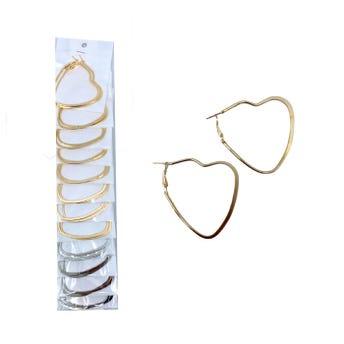 Arete arracada corazón metálico, dorado y plateado surtido, 5 X 5 cm.