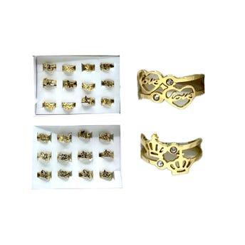 Anillo de acero inoxidable de figuras con cristales, modelos y tallas surtidas, dorado.