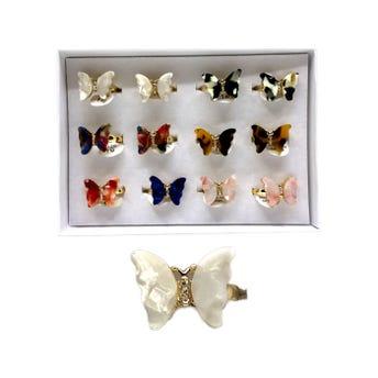 Anillo con mariposa y cristales, colores y tallas surtidas.