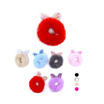 Dona para cabello de peluche con orejas de plástico decoradas, colores surtidos, 7 cm.