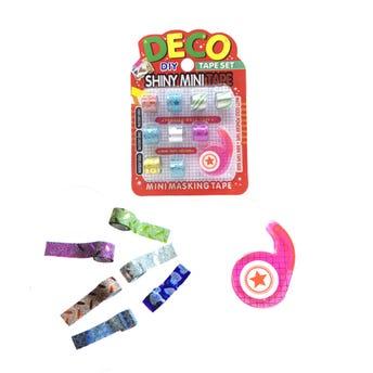 Diurex azucarado decorado, set de 9 pz con despachador, colores metálicos surtidos, 1 cm.